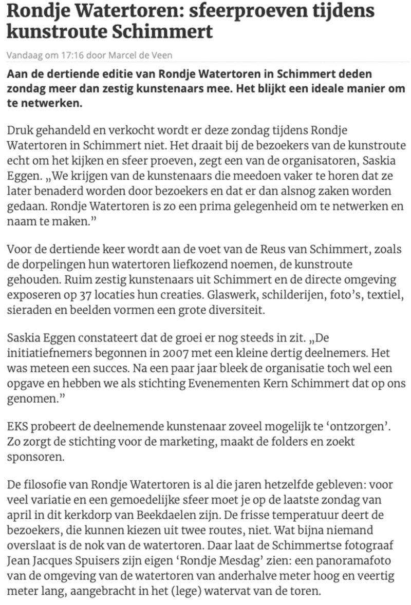 artikel in DE LIMBURGER over rondje watertoren SPUISERS fotografie Reus van Schimmert 28 april 2019